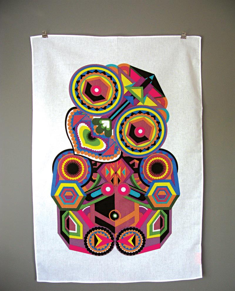 """Discover Me : Tofutree Art & Design : """"Tiki"""" Tea Towel"""
