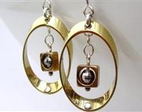 Modern Geometry Ellipse Earrings