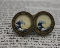 Japanese wave cufflinks