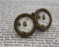 Ship Map Cufflinks-15mm diameter in antique bronze