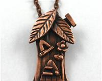 "Miniature Fairy House Pendant in Pure Copper-"" the tree House"""
