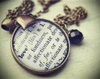 "The Meaning of... Pendant ""Love"" or ""Friend"" in Antiqued Brass or Silver"