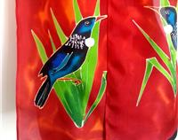TUI ON NZ FLAX HANDPAINTED PURE SILK SCARF NZ HANDMADE