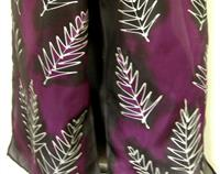 Silver Fern Hand Painted Purple Pure Silk Scarf