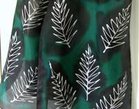 Silver Fern on Green - Handpainted Pure Silk Scarf