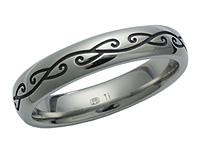 Titanium Engraved Koru Ring 5608