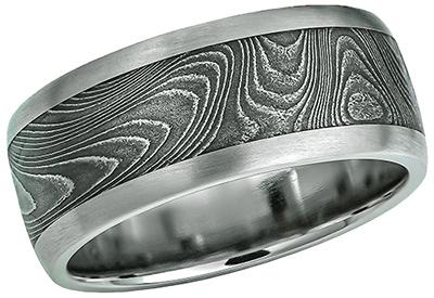 cc2e104863e3a Titanium Damascus Steel Ring 5703