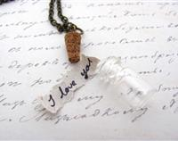 Quote in a Bottle Glass Vial Necklace