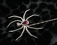 Garnet Spider Stick Pin