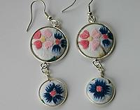 Hand Embroidered Earrings Pinks and Blues