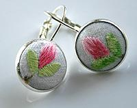 Hand Embroidered Pink and Green lever back earrings