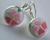 Hand Embroidered Pink Flower lever back earrings
