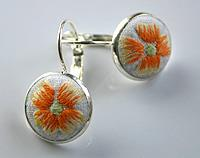 Hand Embroidered Orange Flower lever back earrings