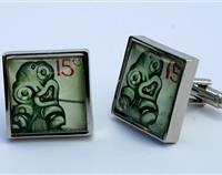 Tiki New Zealand Postage Stamp Cufflinks