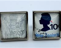 1970 NZ Coat of Arms  original Postage Stamp Cufflinks