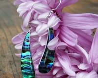 Long curved silver paua shell earrings