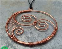 Recycled Copper Necklace Double Koru - hope, purity, unity