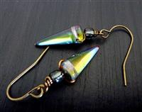 Spectacular spike Earrings - Czech Glass & Brass
