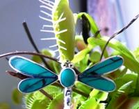 Turquoise coloured dragonfly pendant