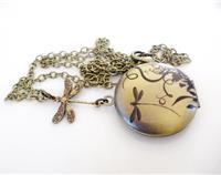 FunkyGlam Vintage Inspired Dragonfly Locket