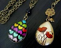 Funky Teardrop Glass Dome Pendant - Choose one