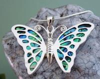 Silver and paua shell butterfly pendant necklace