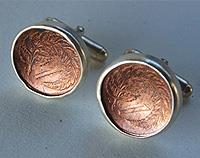 One Cent Cufflinks with Sterling Silver