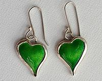 Green Enamel Earrings