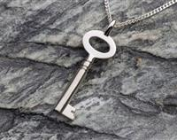 Key Pendant Sterling Silver / Sterling Silver Chain - Handcrafted