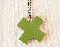 Green china cross necklace on brass chain