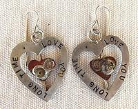 Sterling silver Love You Long Time earrings with copper inner