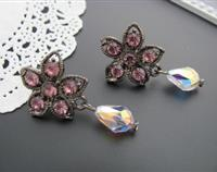 Crystal Teardrop Flower Earrings