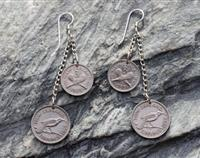 Sixpence / Three Pence Earrings on Sterling Silver Chain