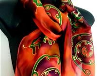 KORU & FERNS ON FIRE HAND PAINTED PURE SILK SCARF