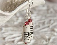 Vintage Music Earrings - Red