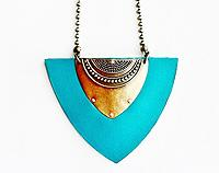 Tribal shield bib necklace