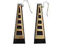 Triangle Window Tower Earrings - Black or White