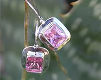 Pretty pink silver earrings