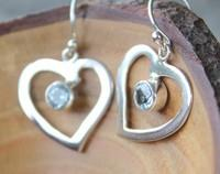 Blue earrings - blue topaz hearts