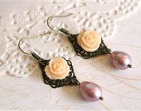 Romantic Rose Pearl Drop Earrings