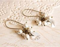 Shabby Chic Pearl Cluster Earrings