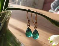 Teal Raindrop Shaped Vintage Glass Beads Earrings