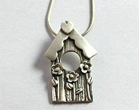 Bird house pendant in pure silver