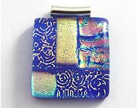 Dichroic Mosaic Pendant - Purple and Gold
