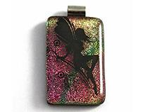 Dichroic fused glass fairy on a rainbow pendant