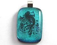 Dichroic fused glass aqua fairy pendant