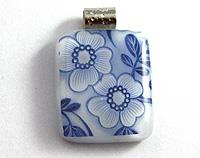 Blue flower fused glass pendant