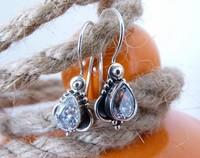 Silver filigree cubic zirconia earrings