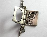 Miniature pure silver book pendant
