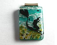 fused glass black mermaid pendant